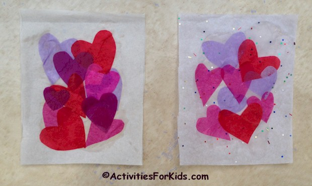 Tissue Hearts Valentine's Card