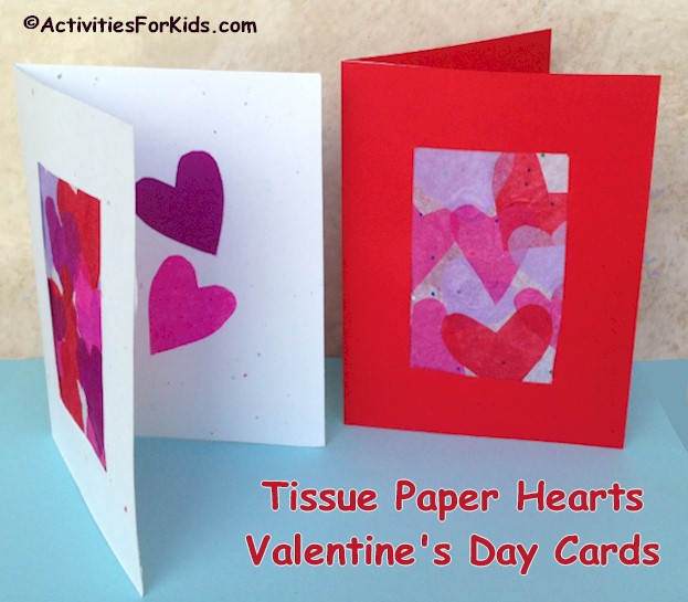Tissue Paper Hearts Valentine Card Kids Craft – Construction Paper Valentine Cards