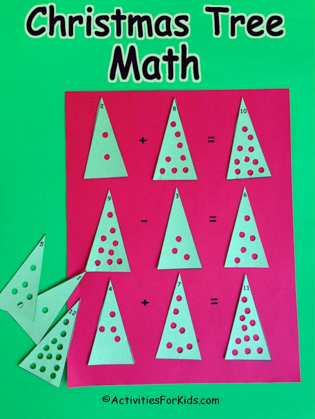 A fun way to practice addition and subtraction. Free printable for trees and worksheet at ActivitiesForKids.com.
