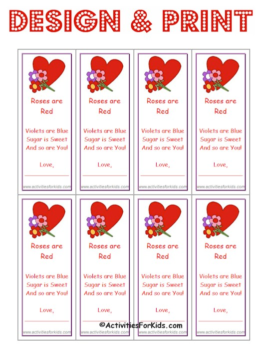 Print 8 Custom Valentine bookmarks or cards per page at ActivitiesForKids.com.  With this free printable, you can select the image and text that you would like to use.