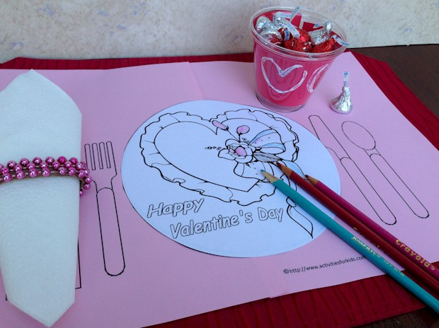 Valentine's Day Printable Place mat for kids to celebrate the holiday. See more Free Printable Valentine's Day Activities at ActivitiesForKids.com