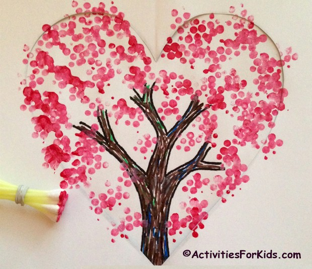 A Valentine Tree Craft for children uses two printable pages to create a heart shaped tree. Printable pages from Activities for Kids.