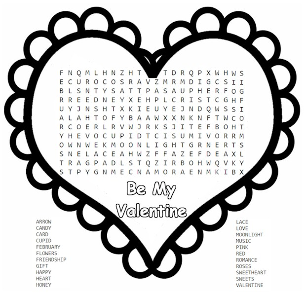 valentine's day word search for kids, Ideas