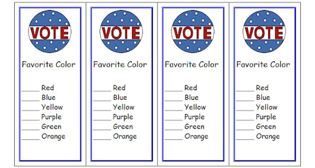 Print 8 Voting Ballot Bookmarks for your classroom.  The first line will print in a larger font, then select up to 7 additional lines for voting selections of your choice.  Several designs to choose from  Activities for Kids
