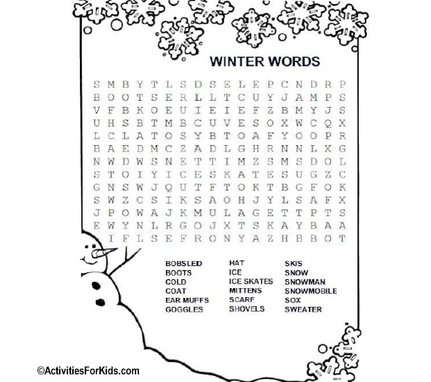 winter words word search activities for kids. Black Bedroom Furniture Sets. Home Design Ideas