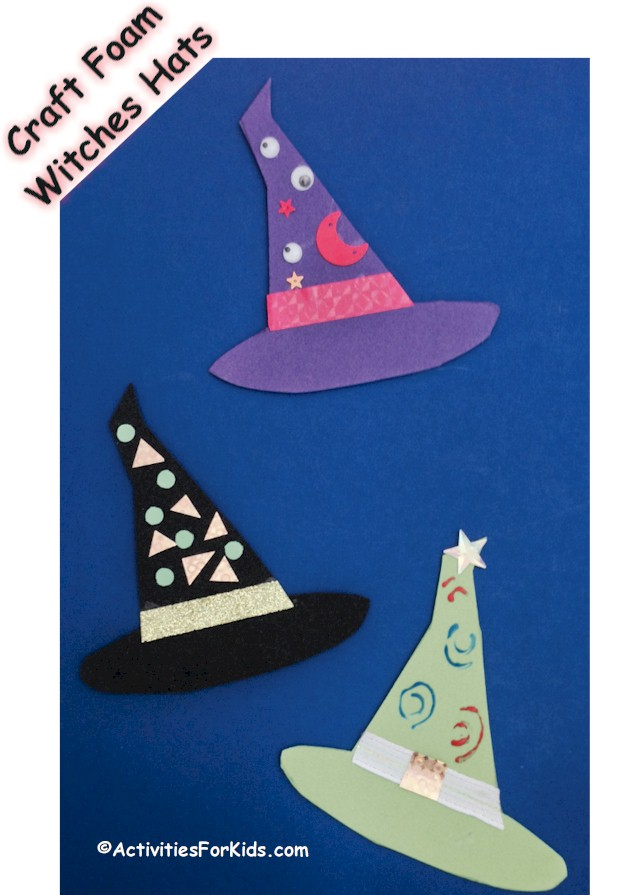 Easy Halloween Crafts for kids.  Decorate and use as decorations for Halloween.  Printable for Witches Hats can be found at ActivitiesForKids.com