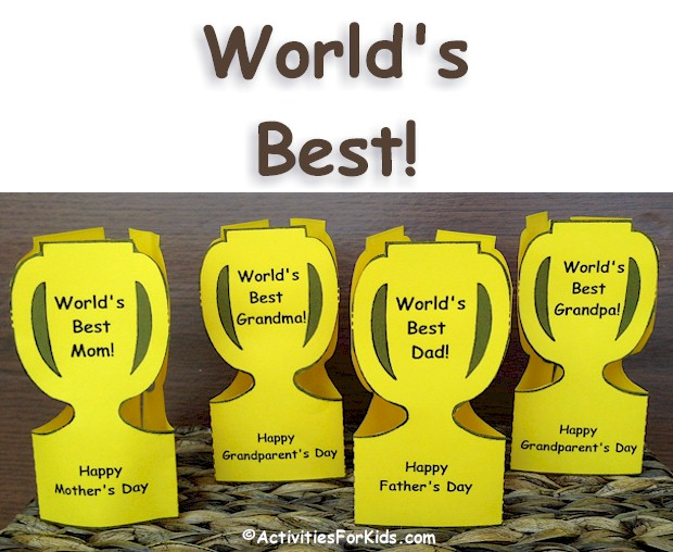 Worlds Best Trophy Printable Is Great For Mothers Day Fathers And Grandparents