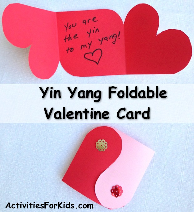 Printable template for a Yin Yang Valentine card.  Holiday  - Valentine's Day activity for kids.