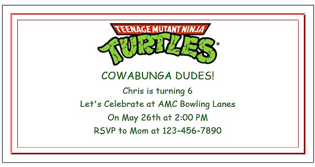 Printable birthday party invitations for a Teenage Mutant Ninja Turtle Party.