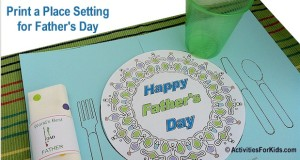 Printable placemat for Father's Day for Kids
