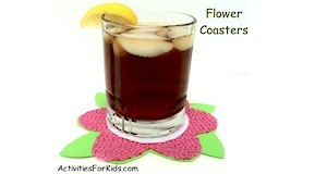 Celebrate Spring and Summer with colorful coasters for kids to make at ActivitiesForKids.com.  Great gift for Mother's Day.