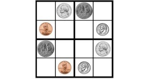 Easy Sudoku for Kids.  Use coins instead of numbers with these 4 x 4 sudoku grids.  Printable from ActivitiesForKids.com.