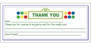 Fill in the blank thank you card for kids for a  Sesame Street Birthday Party.