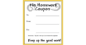 No Homework Coupon to print for Kids.  Classroom Homework Pass