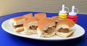 Kids party food, mini meatball sliders are an inexpensive treat that can be put together in minutes.  ActivitiesForKids.com