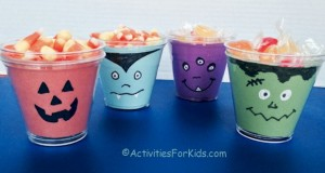 Halloween Crafts for Kids.  Easy Halloween Candy Cups craft from Activities For Kids.com