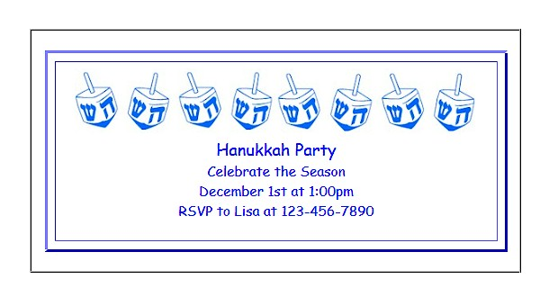 Hanukkah Invitations for Kids