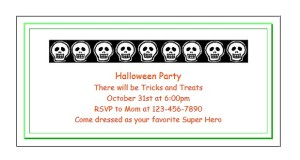 Custom, printable invitations for Halloween at ActivitiesForKids.com
