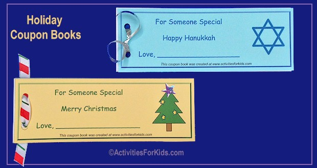 Coupon books for holiday gift giving from ActivitiesForKids.com