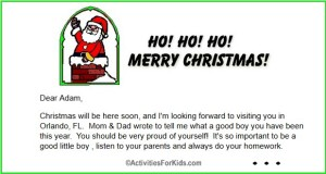 Free printable letter from Santa at ActivitiesForKids.com