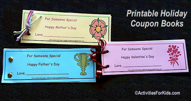 Print coupon books for mom, dad, grandma and grandpa.  Custom coupon books for kids.