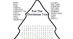 Word Search with words for decorating the Christmas Tree.