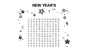 Words and terms for New Year's Eve on this word search for kids.