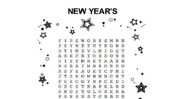 new year u0026 39 s eve word search printable for kids