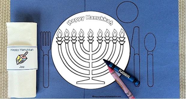 Printable Hanukkah Placemat for Kids.  Hanukkah coloring page.