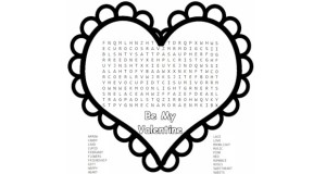 Free Printable Valentine Word Search for Kids.