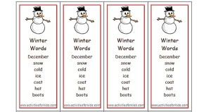 Winter Words Bookmarks