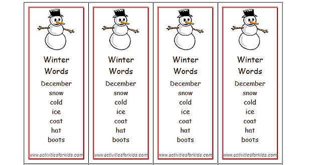 Winter Words Bookmarks - Activities For Kids