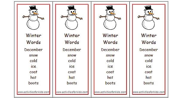 Winter Words Bookmarks - Activities For Kids
