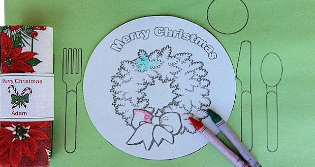 Printable Christmas place mat for kids.  Creative diversion for little ones at the Christmas table.