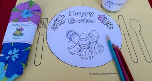 Easter egg coloring page and printable placemat for kids.