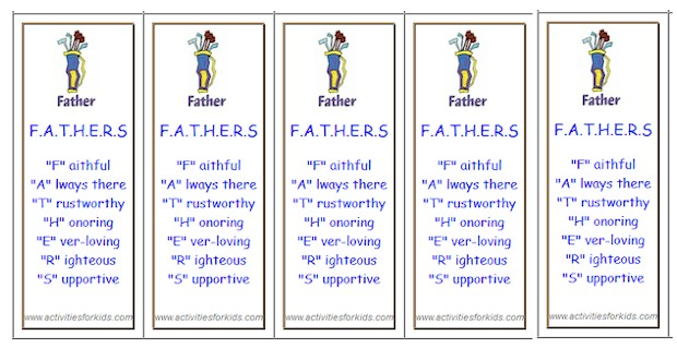 Father's Day Bookmarks – Activities For Kids