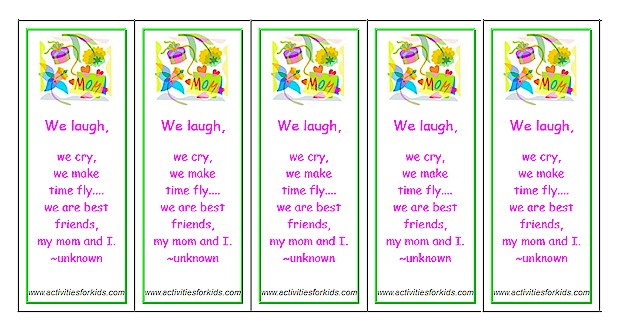 Printable Mother's Day Bookmarks - Classroom printout for Mother's Day