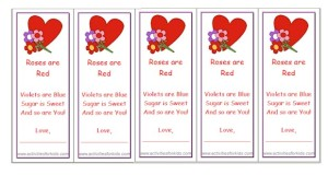 Free printable cards for kids on  Valentines Day