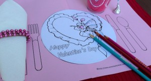 Coloring page to print for Valentine's Day.  Printable placemat for kids.