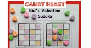 Kids sudoku printable using Valentine candy Hearts instead of numbers.