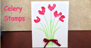 Easy card for a preschool Valentine craft.  Celery stamp to make hearts.