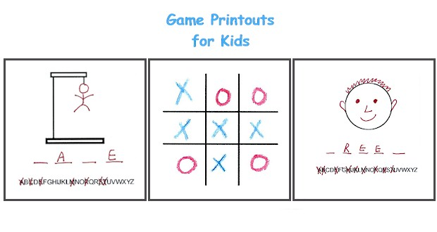 Printable game pages to use in the car or on a road trip.