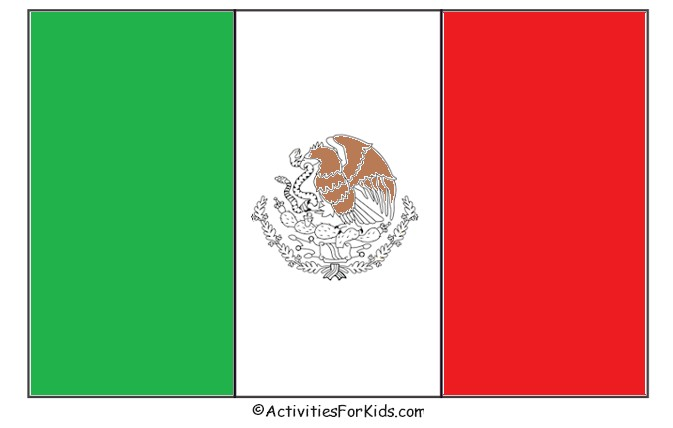 Mexican Flag Coloring Page Cinco De Mayo Craft