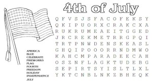 July 4th Word Search Puzzle for Kids