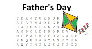 Father's Day Word Search puzzle classroom printout for June.
