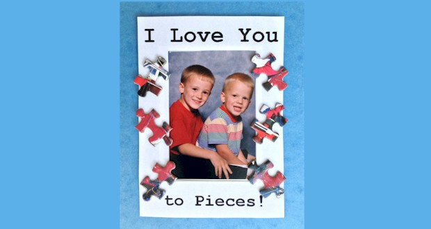 I Love You to Pieces Puzzle Piece Frame - printable frame template