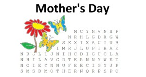 Mother's Day Word Search for kids, coloring page, puzzle to celebrate mothers.