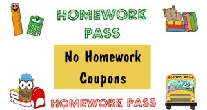 No homework coupons.  Printable homework pass for students.