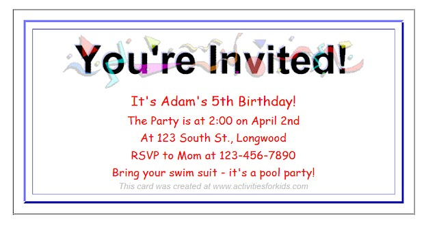 Free Printable Party Invitations for Kids – Free Printable Party Invitations