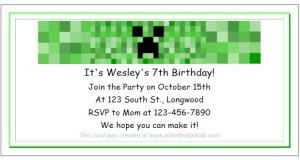 Free Printable Minecraft party invitation